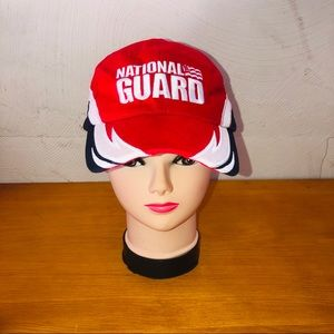National Guard red white navy adjustable hat